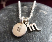 Personalized hand stamped sterling charm with zodiac sign
