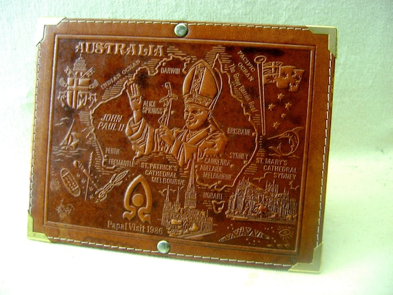 Souvenir of the 1986 Papal Visit - Tooled Leather, Australia