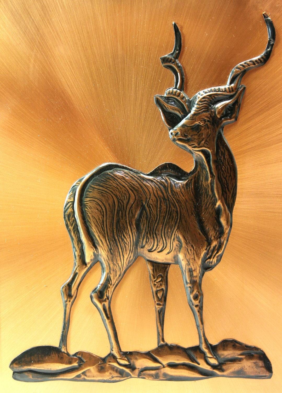 Dennis Thomson Copper Wall Hanging Kudu Or Antelope