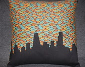 Chicago Skyline Pillow, Urban Throw, Teal, Orange, Yellow Flannel & Black
