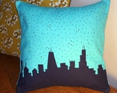 Decorative Chicago Skyline Pillow, Flannel, teal and navy blue