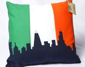 Ireland Flag & Chicago Skyline Pillow, Green, White, Orange, Navy Blue - 14x14 Throw Pillow, Great GIFT