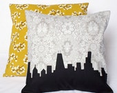 Decorative Chicago Skyline Pillow, Gray and White Floral print, Black Silhouette 14x14
