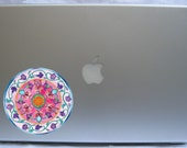 "Romantic pink flowers mandala (8)- A 2"" vinyl macbook and laptop sticker decal skin"
