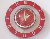 Retro Clock Telechron Vintage Spaceship Cool- Red