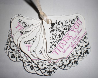 Custom-Made Embossed & Personalized Favor Tags with Ornamental Flourish Set of 30