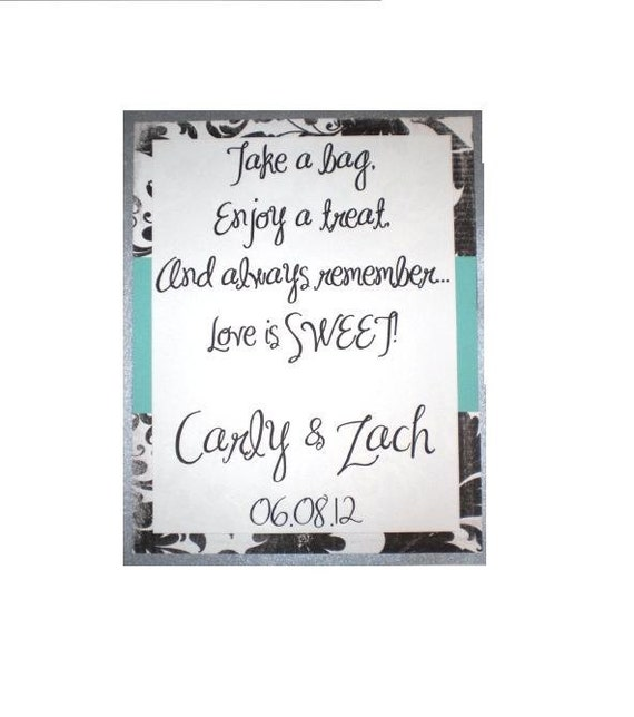 Custom Handmade Candy Buffet Poem Sign No. 2