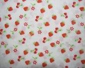 Fabric - Strawberry Cherry - Cotton - White