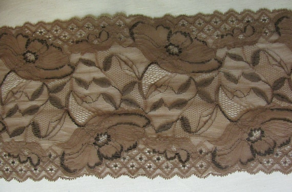 Floral Wide Stretch Lace - Brown - Width 7""