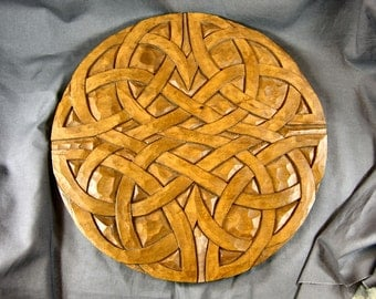 12 inch Celtic Pictish Knotwork Panel in Linden Wood