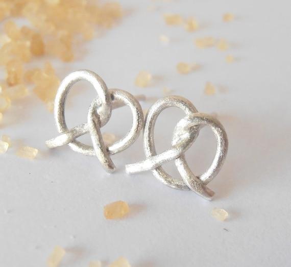 Small Pretzel - sterling silver earrings