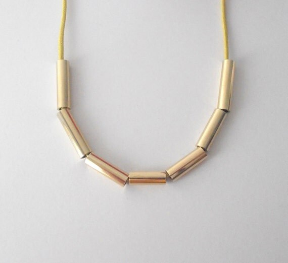 Simple Shining Necklace . Yellow - with polished brass and polished cotton cord