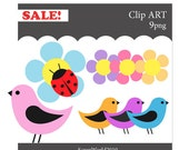 Birds and flowers ETSY Clip art (set of 9)