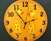 Orange Wall Clock With Giraffes Painting