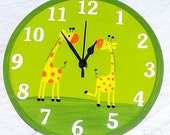 Green Wall Clock With Giraffes Painting