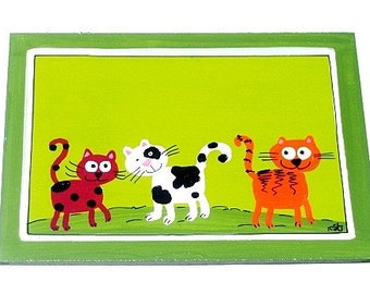 Handpainted Green Door Sign With Cats Painting
