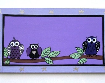 Wooden Door Sign With Owls Painting For Kids Room