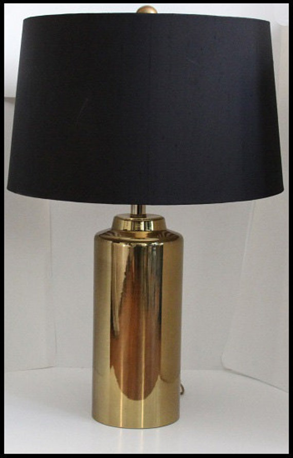Regency Style Gold Lamp W Black Lamp Shade
