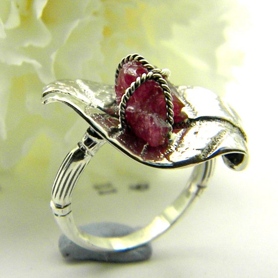 raw ruby leaf ring sterling silver -rough ruby- hand made jewelry