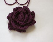 Gorgeous Large Crochet Silk Rose, Supply Item, Ready to be Used for Brooch, Headband, Hair or Shoe Clips, Etc
