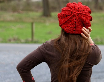 Pattern PDF for Crochet Tam, Beret, Slouchy Hat, Intermediate Skill