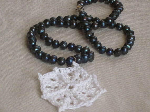 HALF PRICE SALE Pendant on Pearls, Blue Freshwater Pearl Necklace with Crocheted White and Silver Pendant