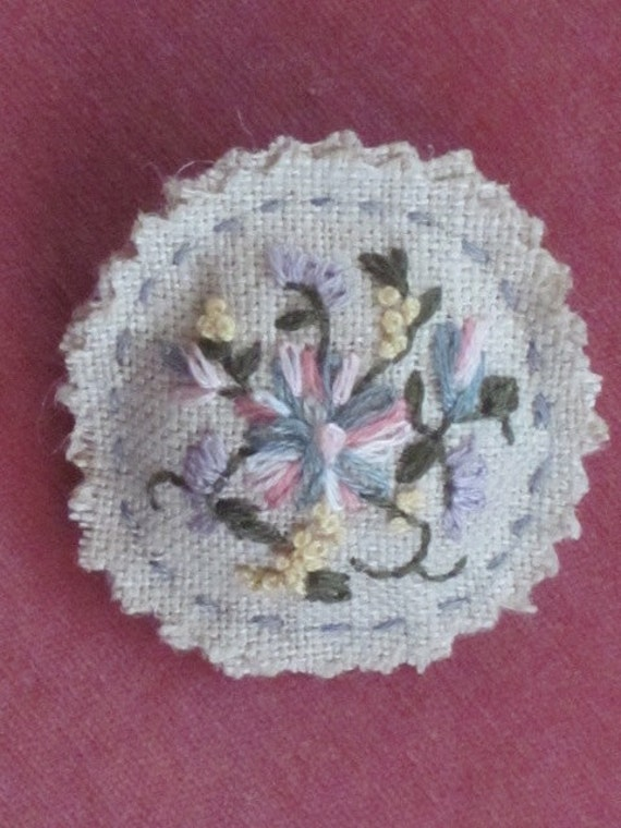 REDUCED Freeform Linen Pendant Brooch, Hand Embroidered