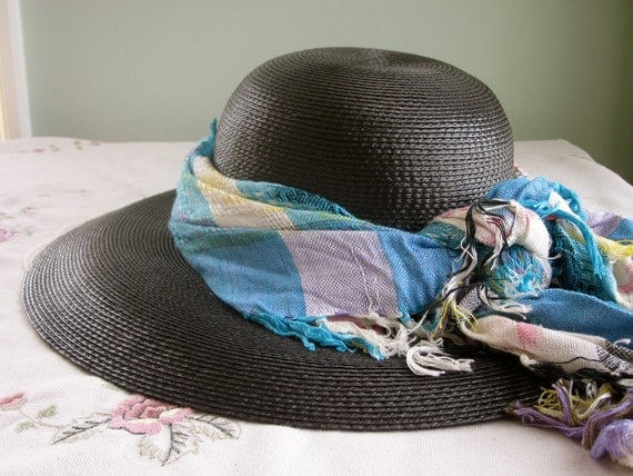 Black Straw Picture Hat, Wide Brim, Vintage, with Scarf