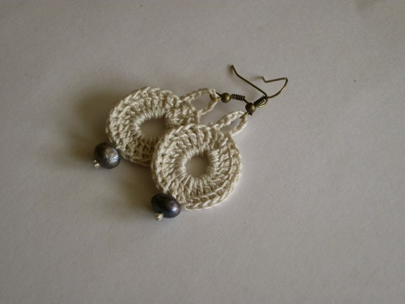 Modern Circle Ivory Beige Textile Earrings with Dark Blue or White Freshwater Pearl Drop