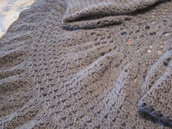 REDUCED Crochet Gray Ruffled Circle Sweater or Shrug, Three Quarter Dolman Sleeves, Size M-L