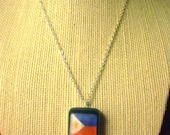 Philippines Flag Necklace - Asian Pride - Silver-like Chain - Resin