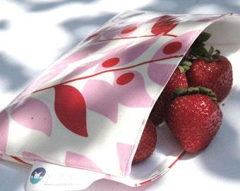 Pink Leaves Snackaby reusable eco friendly dishwasher safe reuseable sandwich bag