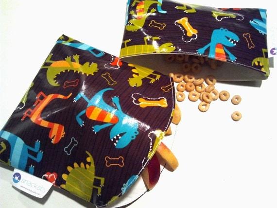 SNACKABY reusable dishwasher safe reuseable sandwich bag snack bag Dino set
