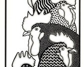 A4 Stylised Folk Art Print Stack Of Cockerels Roosters Black And White Ink Drawing