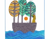 Illustration art, 10 x 8, Watercolor print, Graphic Art, Woman in boat, Tree art, Bird art, Blue green, Ocean, Folk art, Boat journey, Sea