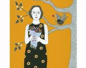 "10"" x 8"" Art Illustration Drawing Print Woman And Black Bird Tree Flowers Golden Black Figurative Landscape Ink Illustration"