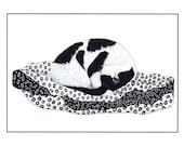 Art print, Black and white cat, Cat illustration, Pen and ink cat, Cat on duvet, Animal drawing, Graphic art, Sleeping Cat, Modern wall art