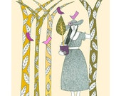 """10"""" x 8"""" Art Drawing Illustration Print Stylised Trees Birds Woman Green Cream Pink Garden Leaves Contemporary"""