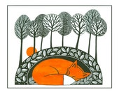 Fox illustration nature print, Pen and Ink, 10 x 8, Illustration art, fox art, Graphic art, Fox drawing print, Orange Black, Tree art