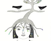 Original  Pen And Ink Drawing Illustration Art Contemporary Folk Art Elf Fairy Tree Birds Whimsical Black and White Green