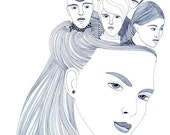 Original drawing, Original art, Ink illustration, Woman art,  Modern wall art, Graphic illustration, Faces in art, Pen and ink drawing