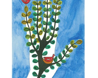 Folk art illustration, Hand drawing, Graphic art illustration, Tree Art, Bird painting, Blue green, Ink and watercolor, Nesting birds,
