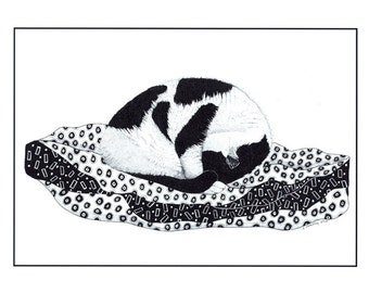 Art print, Black and white cat, Cat illustration, Pen and ink cat, Cat on duvet, Animal drawing, Graphic art, Sleeping Cat, Modern wall art