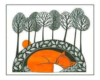 Fox illustration nature print, Pen and Ink, 10 x 8, Illustration art, fox art, Graphic art, Fox drawing print, Orange Black, Tree art