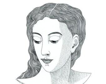 Original drawing portrait of woman, Original ink of woman's head, Portrait art of woman, Black and white original art, Ink illustration