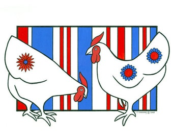 Original Painting Original Art Drawing Illustration Folk Art Patriotic Red Blue White Stylised Hens Chickens
