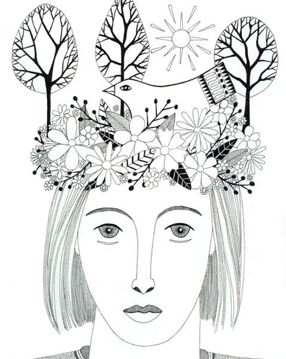 Original Pen And Ink Drawing Woman Portrait Bird Nest Bird On Head Trees Black And White