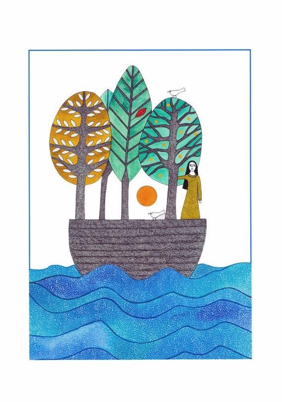 Illustration art, 10 x 8, Watercolor print, Graphic Art, Woman in boat, Tree art, Bird art, Blue green, Ocean, Folk art, Boat journey, Sea