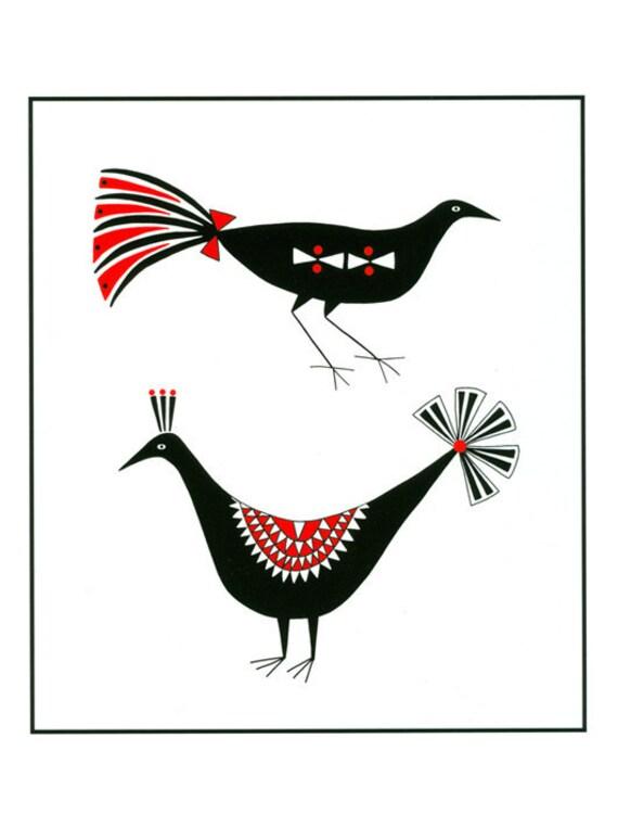 8 x 10 Art Illustration Print Two Black And Red Decorative Birds Contemporary Folk Art Bird Drawing Monochrome Art Illustration