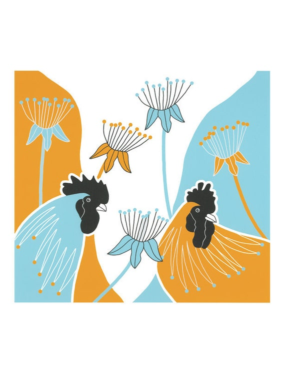 Rooster print, Graphic art birds, Cockerels, Yellow and blue art, Modern wall art, Art illustration birds, Rooster drawings, Seedheads